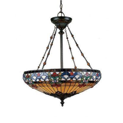 klasyczna lampa wisząca z witrażowego szkła