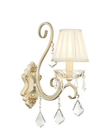 klasyczny kinkiet z abażurem i kryształkami
