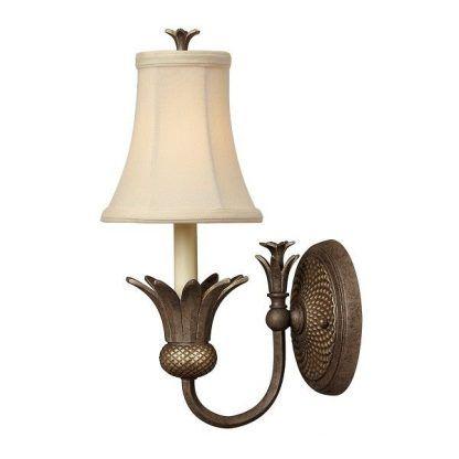 klasyczny kinkiet z materiałowym abażurem - brązowy do salonu