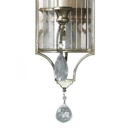 klasyczny kinkiet zdobiony kryształami i lustrem