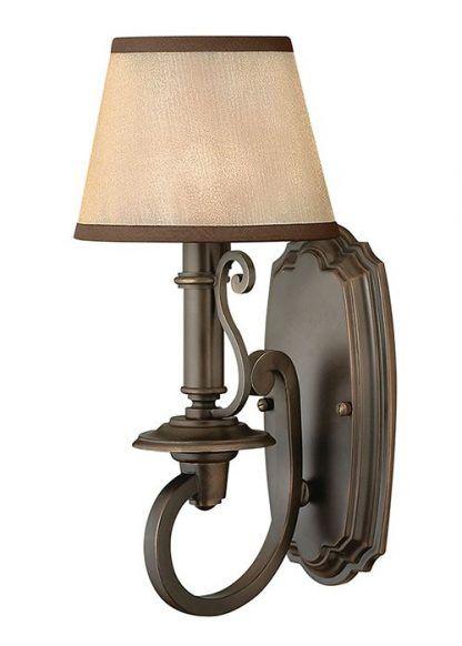 klasyczny kuty kinkiet z abażurem - brązowy salon