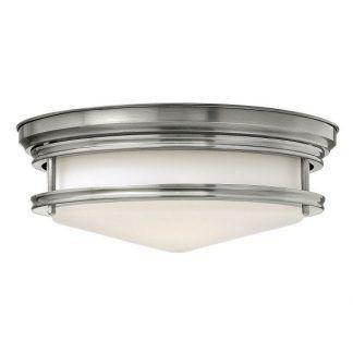 klasyczny plafon z mlecznym kloszem srebrny