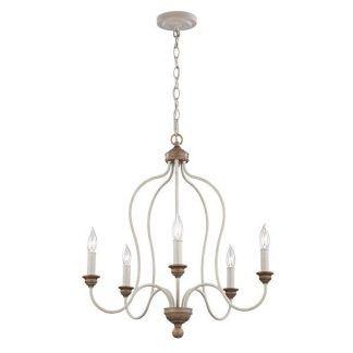klasyczny prosty świecznikowy żyrandol do salonu - białobrązowy