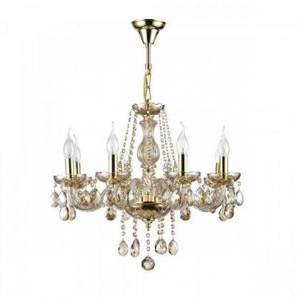 Klasyczny złoty żyrandol ze świecznikami i kryształkami