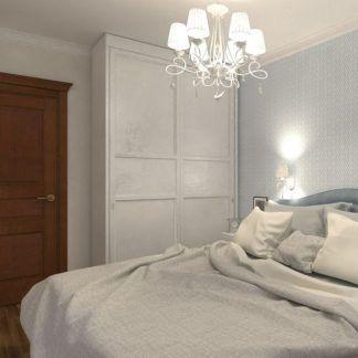 klasyczny żyrandol do beżowej sypialni aranżacja