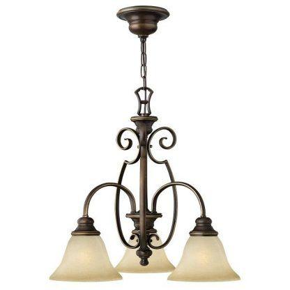 klasyczny żyrandol z 3 kielichami szklanymi - brązowy i kuty do salonu
