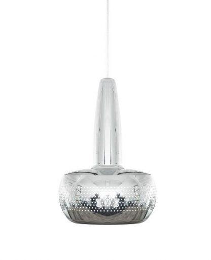 klosz srebrnej lampy wiszacej salonowej