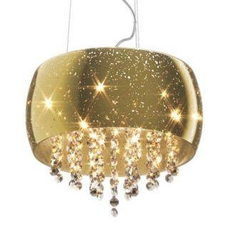 Klosz w złotym kolorze z kryształowymi dekoracjami