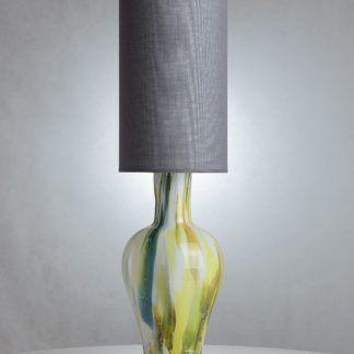 kolorowa lampa stołowa z szarym abażurem - wąska
