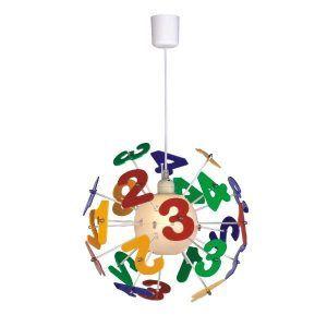 kolorowa lampa wisząca cyfry pokój dziecięcy