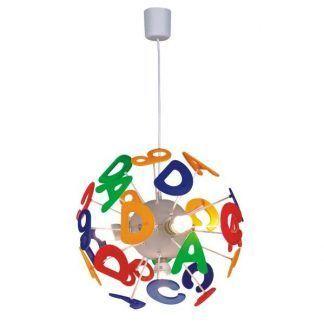 kolorowa lampa wisząca literki pokój dziecięcy