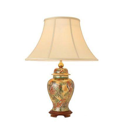 kolorowa porcelanowa lampa stołowa z abażurem