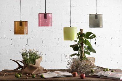 kolorowe szklane lampy nad stół aranżacja