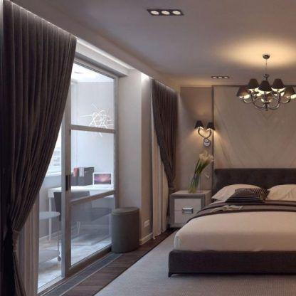 komplet lamp do sypialni z abażurami - kinkiet i żyrandol