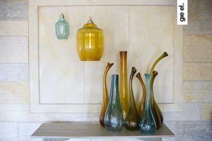 komplet lamp szklanych w różnych kolorach - wiszace klosze