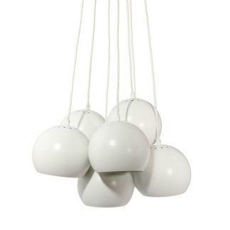 komplet lamp wiszacych ball - białe kule z 7 żarówkami