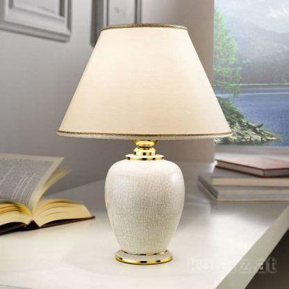 kremowa ceramiczna lampa stołowa złote detale