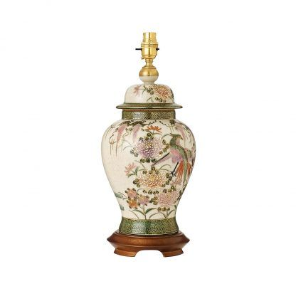 kremowa lampa stołowa ręcznie malowana ceramika