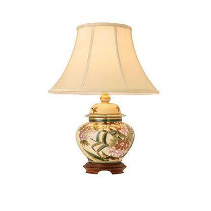 kremowa lampa stołowa z ceramiki z abażurem