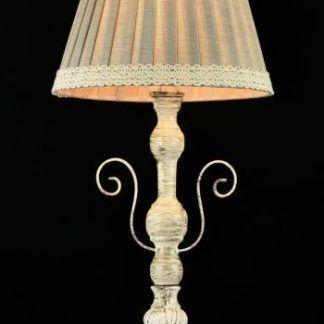 kremowa lampa stołowa z lnianym abażurem