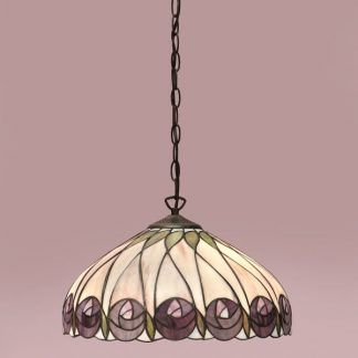 kremowa lampa wisząca w fioletowe kwiaty tiffany