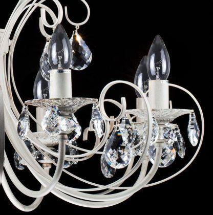 kremowy żyrandol luksusowy z kryształkami