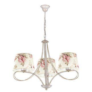kremowy żyrandol z abażurami w kwiaty do sypialni