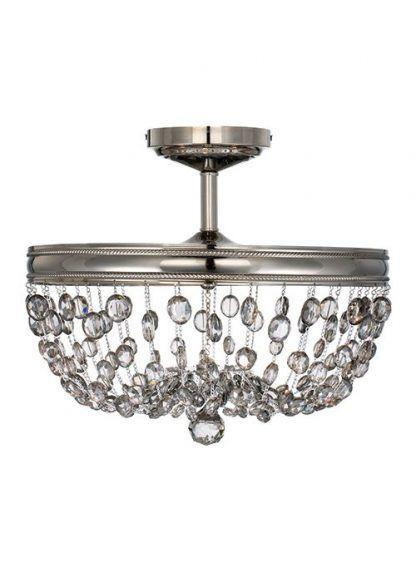 kryształowa lampa sufitowa z łańcuszkiem kulek