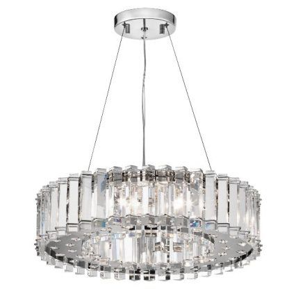 kryształowa lampa wisząca na linkach - srebrne zdobienia salonu