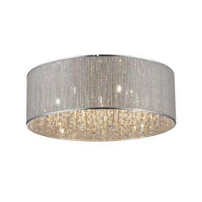 kryształowa lampa wisząca srebrna - okrągły klosz