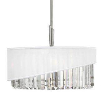 kryształowa lampa wisząca z białym abażurem