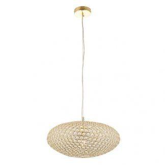 kryształowa lampa wisząca z opływowym kloszem