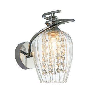 kryształowy kinkiet glamour w srebrnych zdobieniach