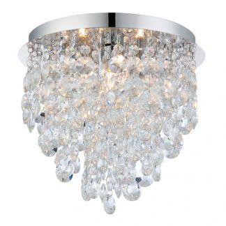 kryształowy plafon do salonu srebrny glamour