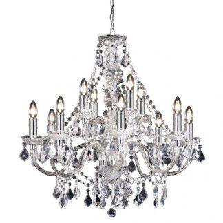 kryształowy żyrandol glamour ze świecznikami do salonu