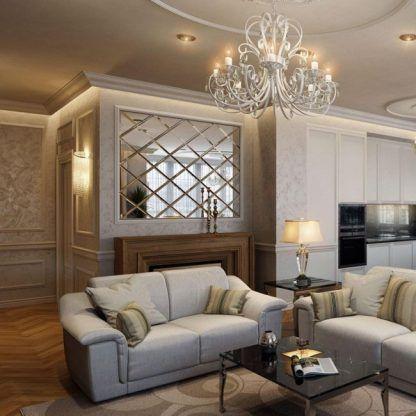 kryształowy żyrandol w klasycznym salonie aranżacja