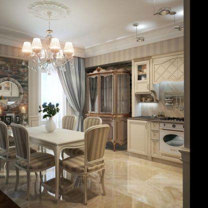 kuchnia glamour z żyrandolem aranżacja
