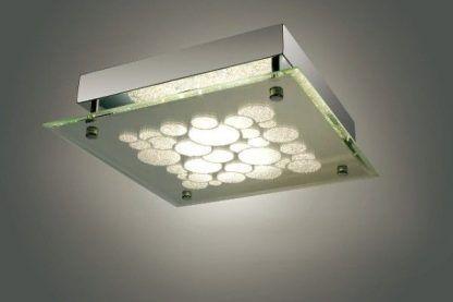 kwadratowa lampa sufitowa z zielonkawym szkłem