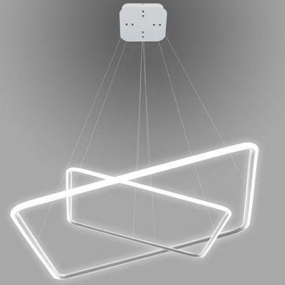 kwadratowa lampa wisząca led biała oprawa