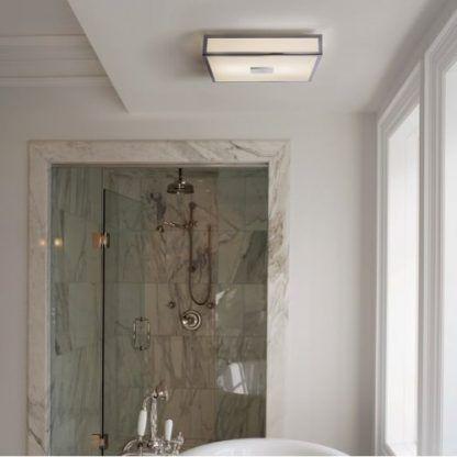 kwadratowy kinkiet łazienkowy - płaski nowoczesny nad wannę