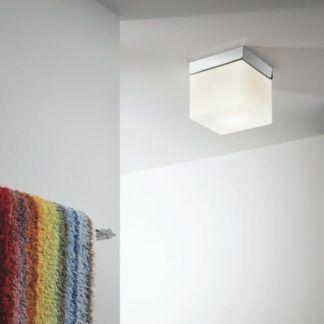 kwadratowy plafon łazienkowy szklany srebrny