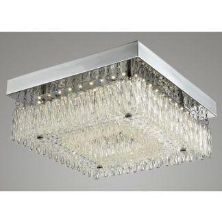Kwadratowy srebrny plafon z kryształkami do salonu