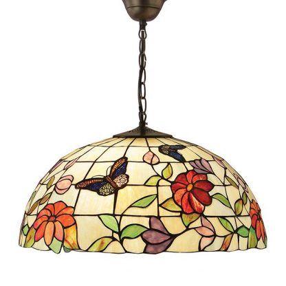 kwiecista lampa wisząca ze szkła witrażowego