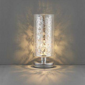 lacy szklana lampa stołowa ze srebrnymi kwiatami