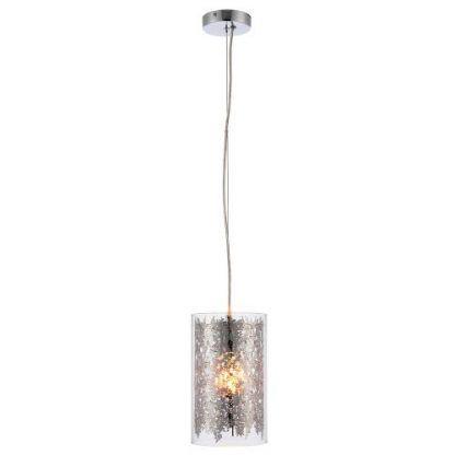 lacy szklana lampa wisząca ze srebrnym połyskiem