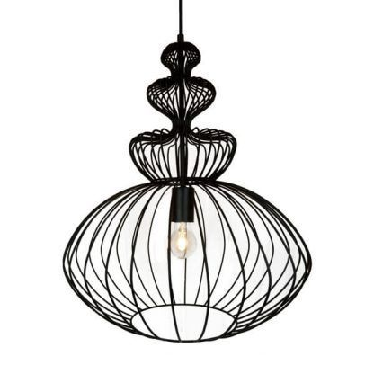 ładna druciana lampa wisząca do salonu nad stół - minimalistyczna