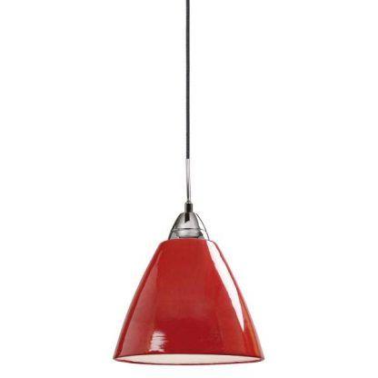Lakierowana metalowa lampa w kolorze czerwonym