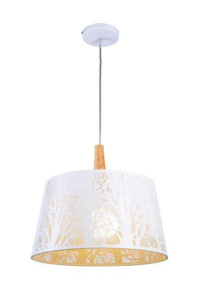 lampa biała wiszaca zdobiona grawerem laserowym