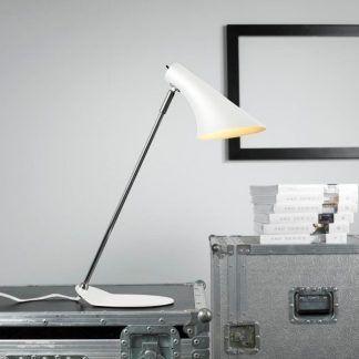 Lampa biurkowa do gabinetu biała - prosta elegancja