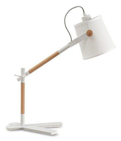 lampa biurkowa drewniana z białym kloszem i podstawą